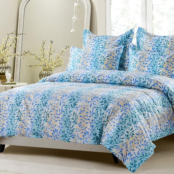 6pc Floral Beige Blue Aqua Bedding Set-Includes Comforter And Duvet Cover