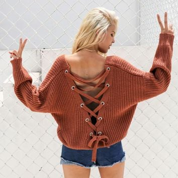 Oversized Sweaters: Knitted Backless V-Neck Sweaters