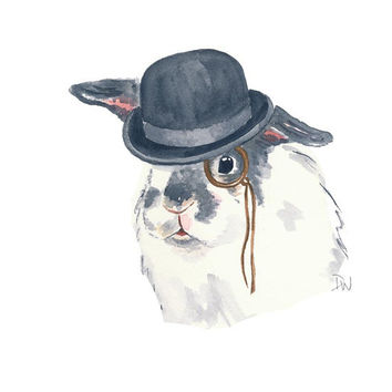 Bunny Rabbit Watercolour Painting - Original Art, Bowler Hat, Monocle, 8x10 illustration