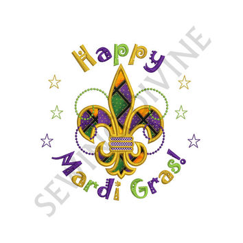 Happy MARDI GRAS APPLIQUE Design Instant Download 4x4 5x7 6x10 Machine Applique Pattern
