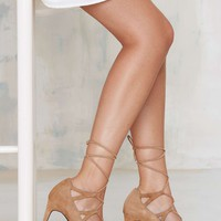 Jeffrey CampbellBrielle Lace-Up Suede Pump - Camel