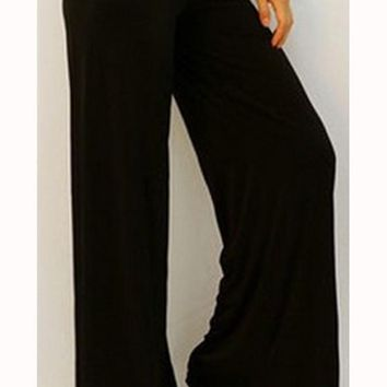 Black Elastic High Waisted Long Casual Pants