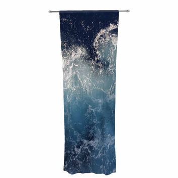 "Suzanne Carter ""Sea Spray"" Navy Ocean Decorative Sheer Curtain"