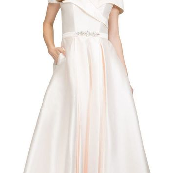 Off-Shoulder Long Prom Dress Champagne with Pockets