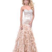 Champagne Belle Of The Ball Mermaid Prom Gown - Unique Vintage - Prom dresses, retro dresses, retro swimsuits.