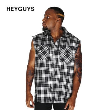 plaid grey shirts men sleeveness hiphop street fashion men clothes men shirt sleeve clothing plus size