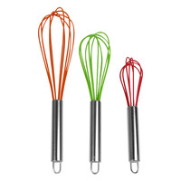 Evelots® Wired Silicone Whisk Set Of 3, Stainless Steel Mixing Kitchen Utensils