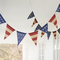 FOURTH OF JULY BURLAP PARTY BANNER