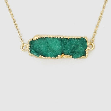 Druzy Bar Pendant Necklace In Emerald Green