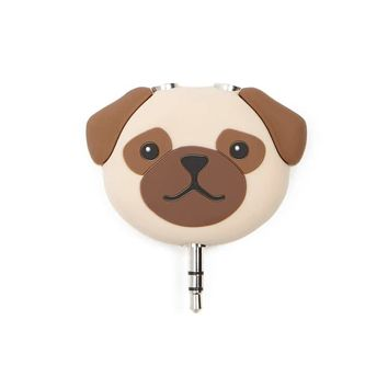 Pug Face Audio Splitter Keychain