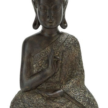 Brown Polystone Buddha Decor 9 Inches Wide