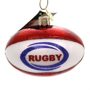 Old World Christmas RUGBY BALL Glass Ornament Sports Football Soccer 44128