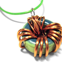 Upcycled Ferrite Ring Necklace Copper Wrapped by clonehardware