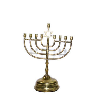 Vintage Brass Hanukkah Menorah LARGE Star of David Menorah Judah Menorah Musical Menorah Music Box