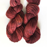Mahogany - Hand-Dyed Worsted Weight Yarn, Speckle Yarn, OOAK