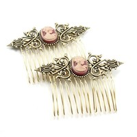 Neo Victorian Cameo Hair Combs with Shimmering by ghostlovejewelry