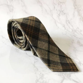 Mocha Brown Plaid Slim Tie  - Rustic Dapper Tie -Wedding Brown Checkered Tie - Groomsmen Brown Tie - Grooms Brown Skinny Tie