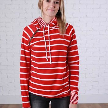 Red and White Stripes Double Hoodie