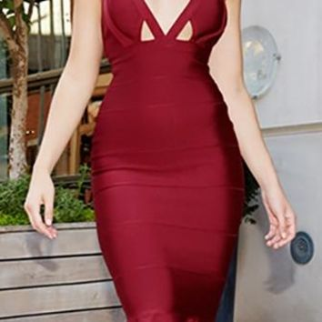 Long Time Coming Burgundy Wine Sleeveless Cut Out V Neck Ruffle Trim Bodycon Bandage Midi Dress