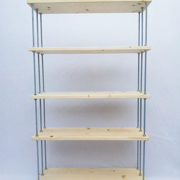 HOLDEN shelf / modular bookcase made of fir treated wood and ANTI-RUST steel - 5 adjustable shelves