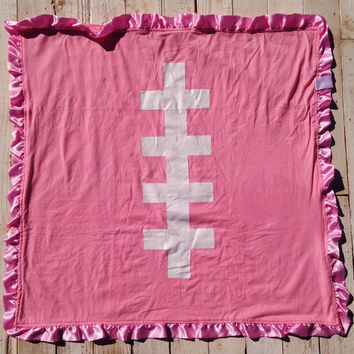Minky Football Blanket-Pink