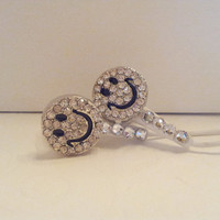 SALE  Rhinestone Smiley Face Earbuds