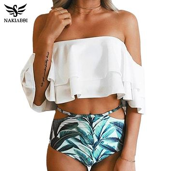 NAKIAEOI Bikini High Waist Swimsuit 2017 New Ruffle Vintage Bikinis Women Swimwear Bandeau Solid Top Print Bottom Bathing Suits