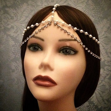 Silver 1920's Inspired Grecian Goddess Headchain 1920s head chain headdress headpiece piece 20's  headband chain pearl gypsy rhinestone