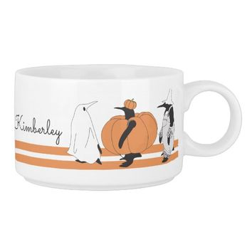 Cute Funny Penguin Halloween Personalized Name Bowl