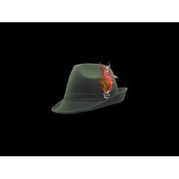 "Green ""German Hunter""  Hat Fedora And Edelweiss & Feather"