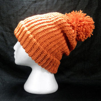 Knit Winter Pompom Hat Pumpkin Orange