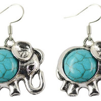 Elephant Faux Turquoise Earrings