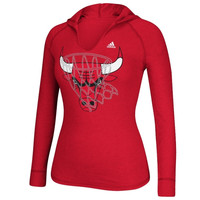 Chicago Bulls adidas Women's Hocus Pocus Hooded T-Shirt - Red