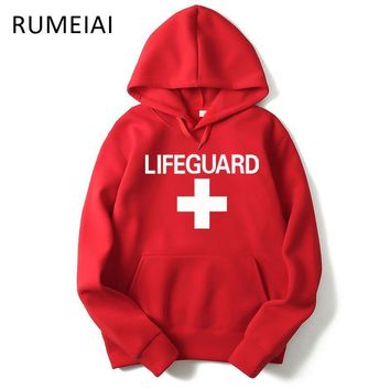 RUMEIAI 2017 autumn winter Men Hoodie Sweatshirt Fashion Print Lifeguard Hoodies Mens Casual Pullover Red Life Guard Hoodies