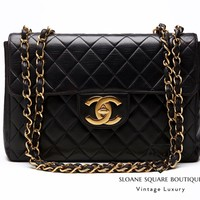 CHANEL BLACK BAG VINTAGE QUILTED LAMBSKIN JUMBO CLASSIC SINGLE FLAP GHW
