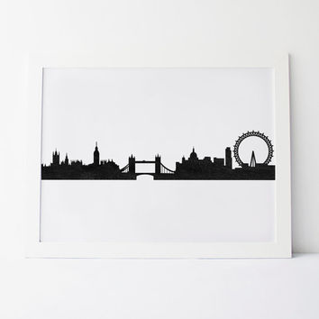 "PRINTABLE Art"" LONDON"" Watercolor Art,Digital Art,London Town,Skyline,Big Ben,Dorm Room Decor,Apartment Decor,Home Decor,Geometric Art"