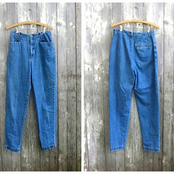 90s Eddie Bauer Jeans High Waist Trousers Preppy Denim Mom Jeans 1990s Hipster Tapered Leg Jeans Womens size 10 28 Inch waist