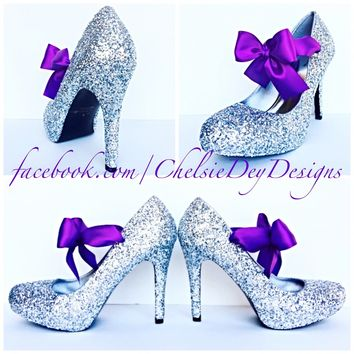 Silver Glitter High Heels, Wedding Shoes with Purple Bows