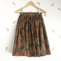 vintage 50s full skirt / high waist / floral print / orange cinnamon + green / xxs xs