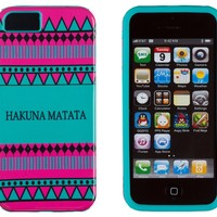 DandyCase 2in1 Hybrid High Impact Hard Hakuna Matata Aztec Tribal Pattern + Teal Silicone Case Cover For Apple iPhone 5S & iPhone 5 (not 5C) + DandyCase Screen Cleaner