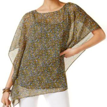 98.00 Michael Kors 2 Piece Asymmetrical Poncho Taxi Yellow Women's Small or Medium