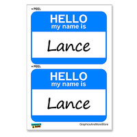 Lance Hello My Name Is - Sheet of 2 Stickers