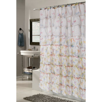 Carnation Home Fashions Carmen Butterfly Print Crushed Voile Ruffle Tier Polyester Fabric Shower Curtain