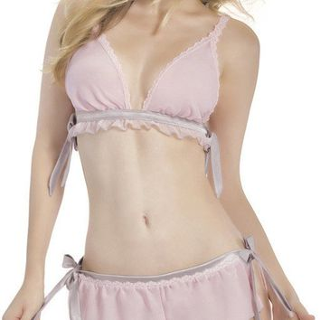 Two Piece Chiffon Bralette and Shortie with Satin Ties