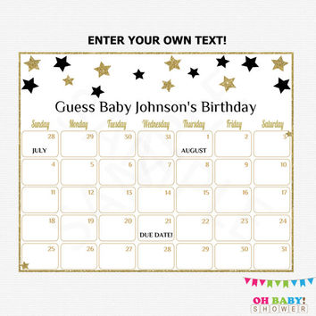 Black and Gold Baby Due Date Calendar Baby Shower Game Guess Baby's Birthday Editable Twinkle Little Star Printable Shower Download STBLG