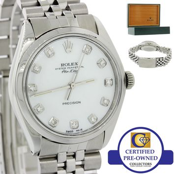 VTG Rolex Oyster Perpetual Air-King Steel 5500 34mm MOP Diamond Watch w Box