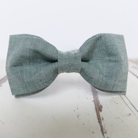 Men's Bow Tie by BartekDesign: pre tied dark green olive mulatto neck tie wedding grooms cotton