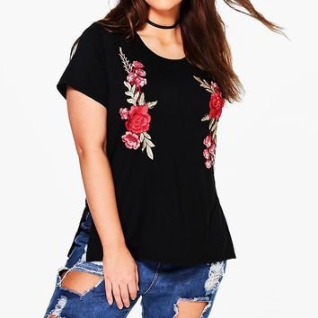 Plus Bella Embroidered Tshirt | Boohoo