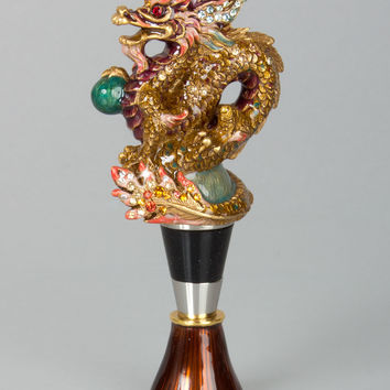 Dragon Wine Stopper with Stand - Jay Strongwater