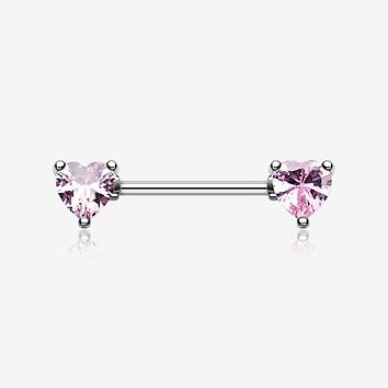 A Pair of Double Heart Gem Nipple Barbell Ring